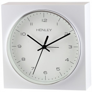 White Bordered Mantel Clock - Chrome