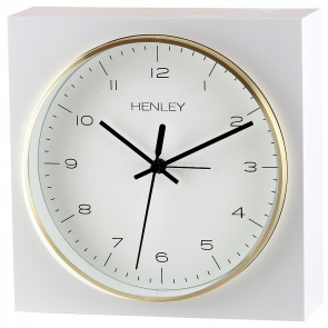 White Bordered Mantel Clock - Brass