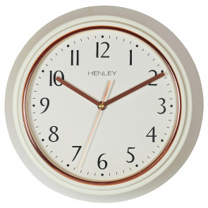 Modern Metal Porthole Wall Clock - Ivory / Rose Gold
