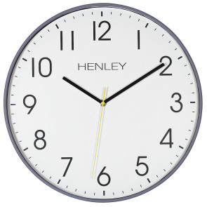 Large Contemporary Print Clock - Grey / Yellow Highlight
