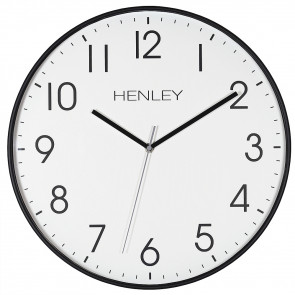 Large Contemporary Print Clock - Black / Grey Highlight