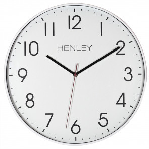 Large Contemporary Print Clock - White / Plum Highlight