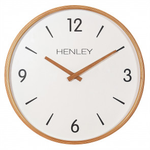 Wooden Textured Weave Clock - White