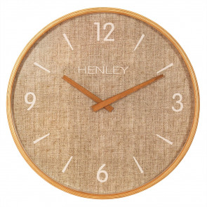Wooden Textured Weave Clock - Textured Tan  Taupe