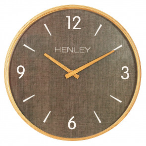 Wooden Textured Weave Clock - Textured Brown  charcoal