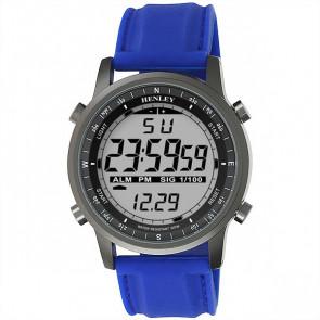 Men's Silicon Digital Watch - Gun / Blue