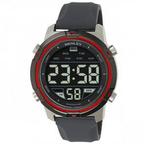 Men's Silicon Digital Watch - Silver / Grey / Red