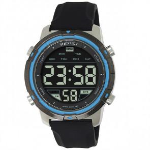 Men's Silicon Digital Watch - Silver / Black / Blue
