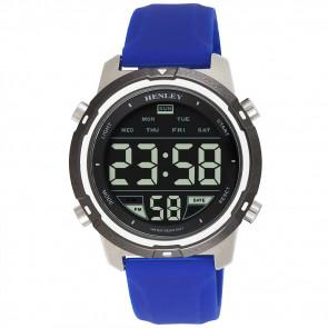 Men's Silicon Digital Watch - Silver / Blue / White