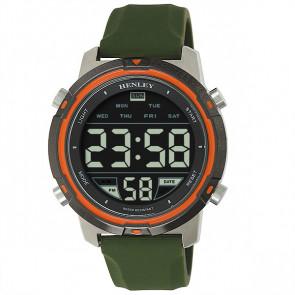 Men's Silicon Digital Watch - Silver / Khaki / Orange