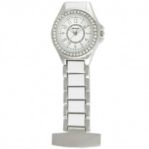 Women's White / Silver Enamel Link Diamante Crystal Set Fob Watch