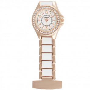 Women's White / Rose Gold Enamel Link Diamante Crystal Set Fob Watch